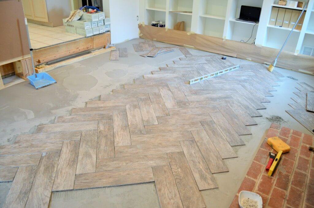 How to Tile a Herringbone Floor by Smart Girls DIY