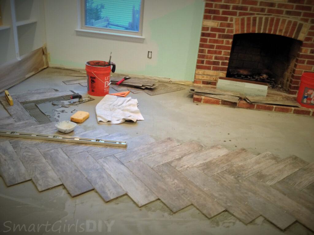 Day 2 of tile the family room floor