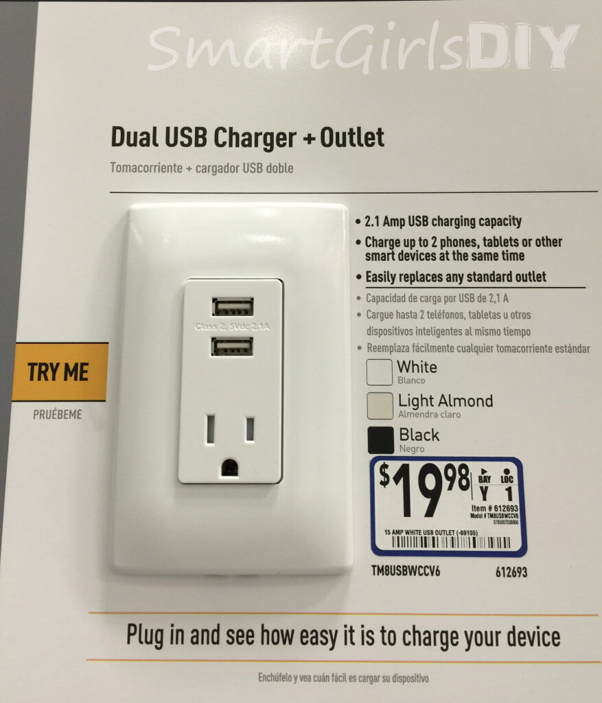 Dual USB charger and outlet from Lowes