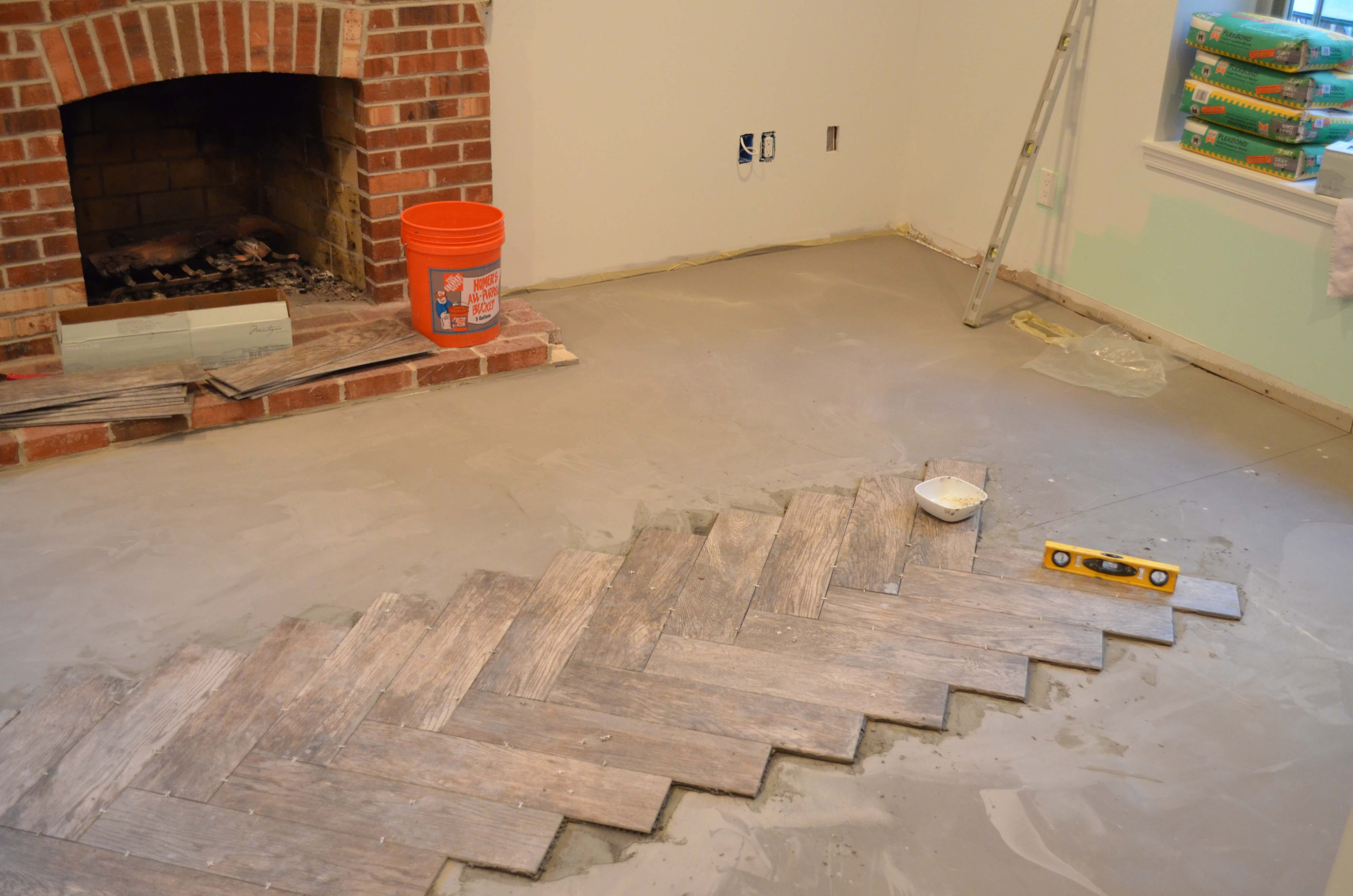 Herringbone tile pattern roselawnlutheran end of day 1 of diy herringbone tile install dailygadgetfo Gallery