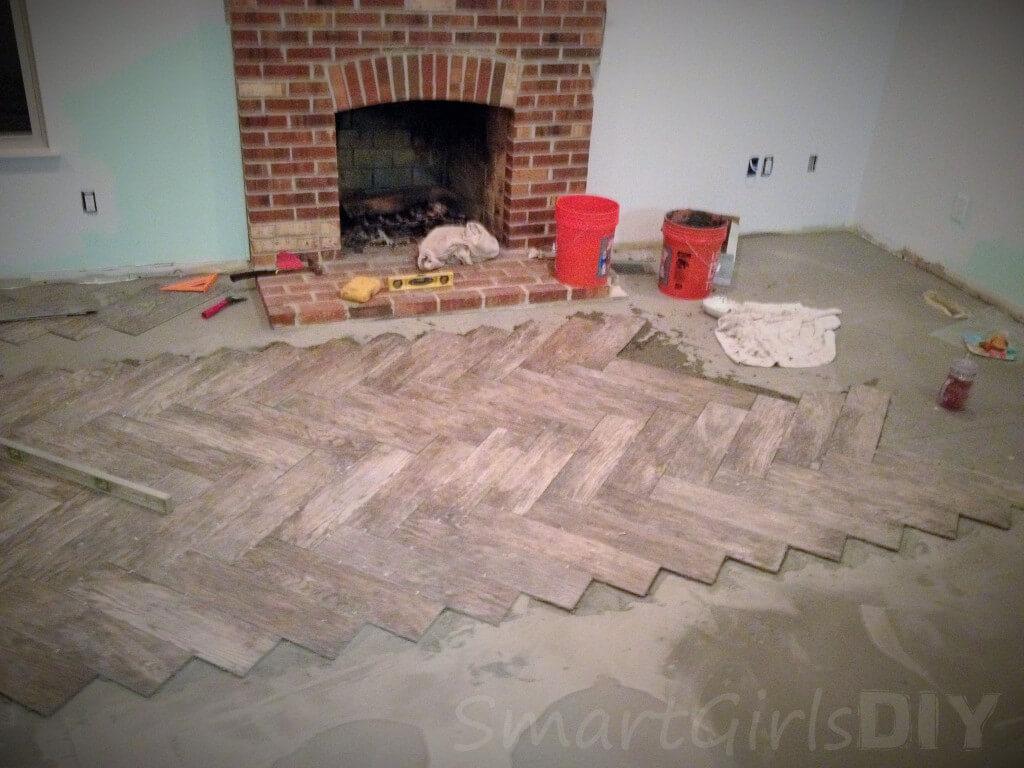 End of day 2 tiling herringbone floor