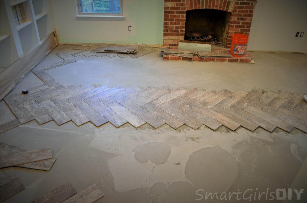 First row of herringbone tile finished