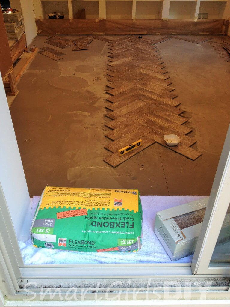 How to tile a herringbone floor