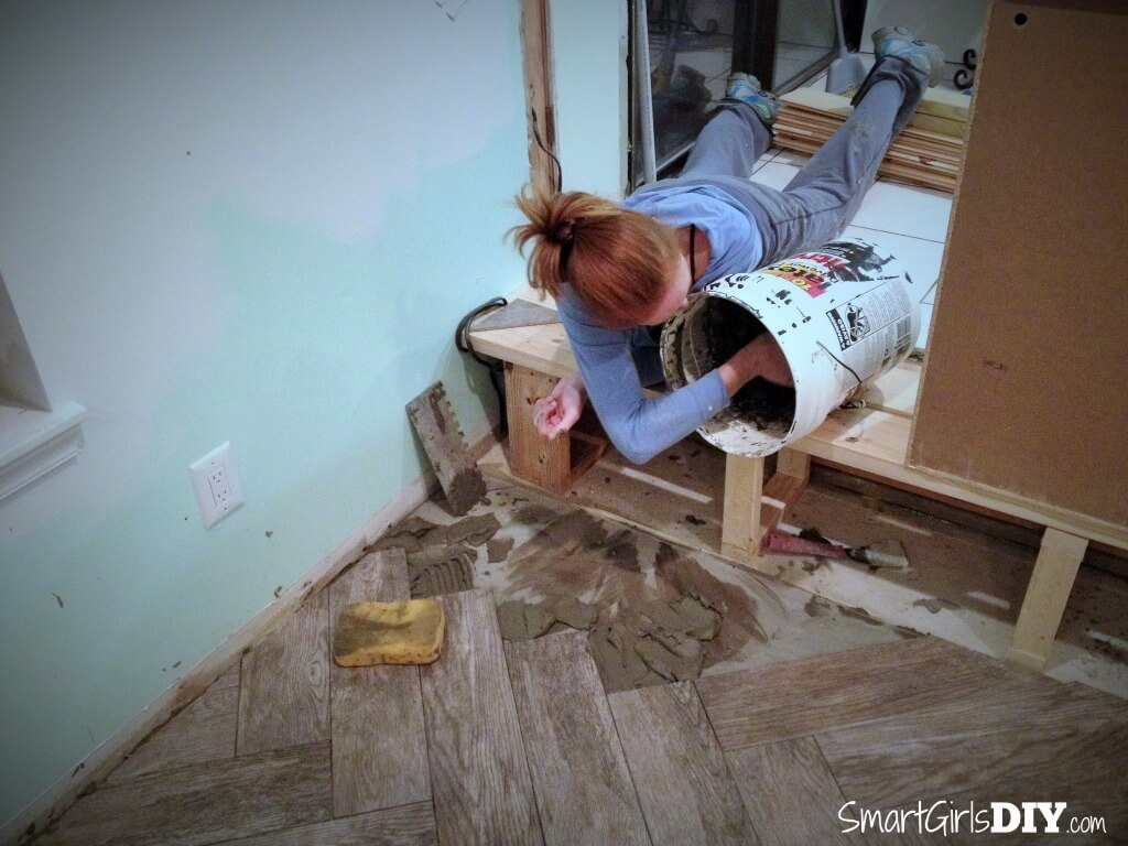 How to tile yourself into a corner - DIY herringbone pattern