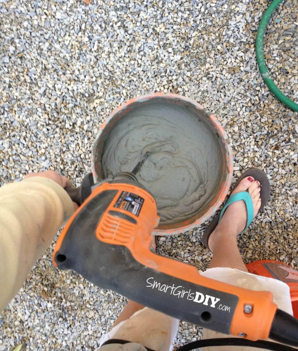 Mixing mortar in flip flops