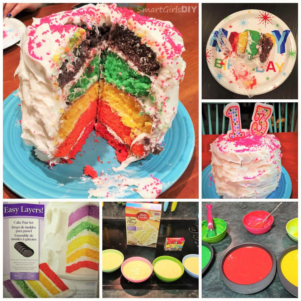 Wilton DIY Rainbow cake using easy 5 layer pan