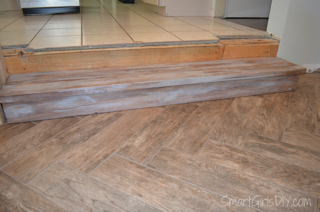 Driftwood Stained DIY family room step