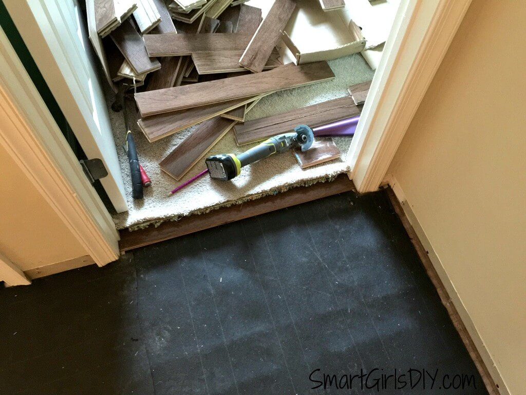First piece installed was doorway threshold
