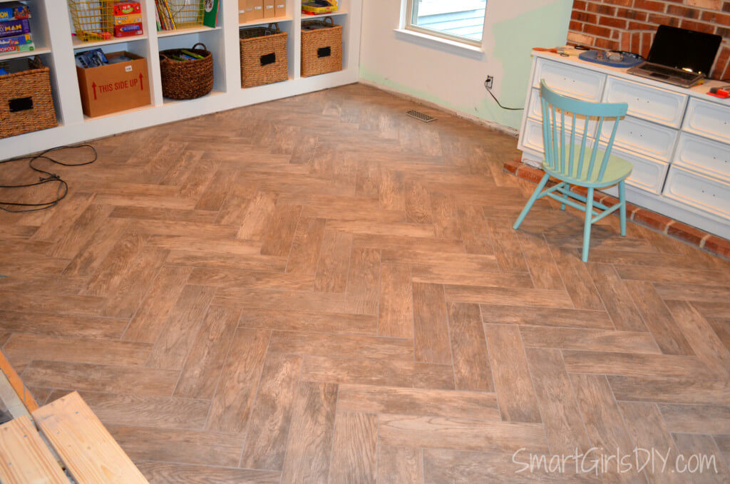 Herringbone Tile Floor Make Sure To Check Out How I Installed The