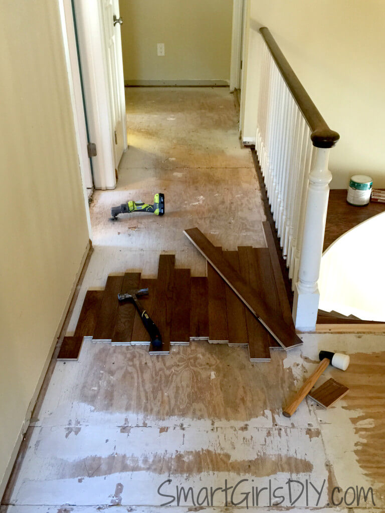 Laying out Bruce hardwood flooring