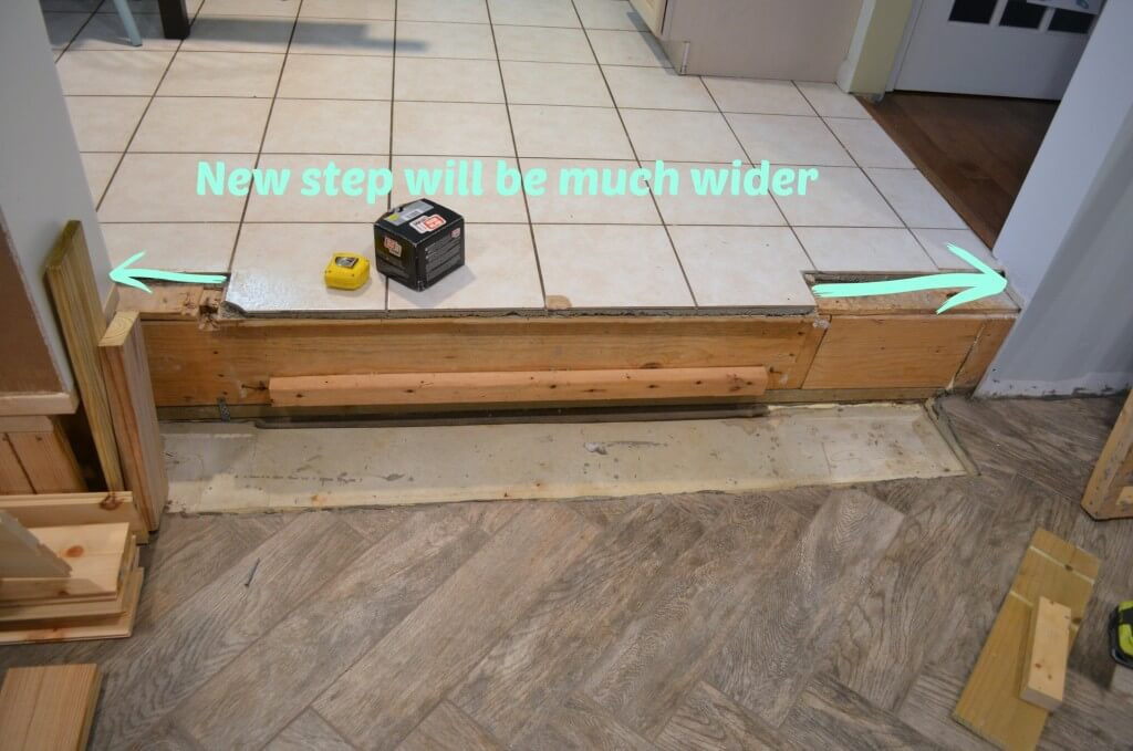 New step will be much wider - how to replace a step down into family room