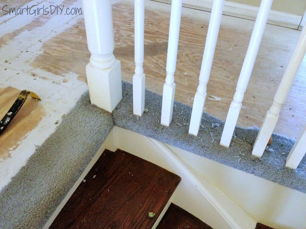 Removing carpet from around spindles