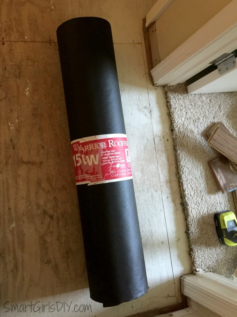 Roofing felt used as hardwood underlayment for Bruce floors