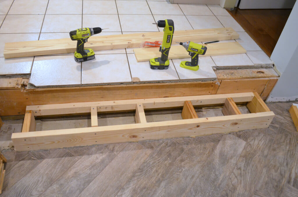 Ryobi tools used to build frame for new step