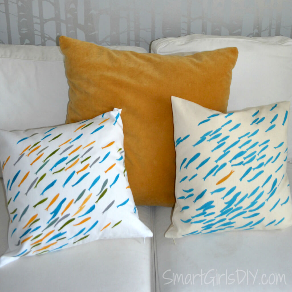 School of Fish stencil painted pillows