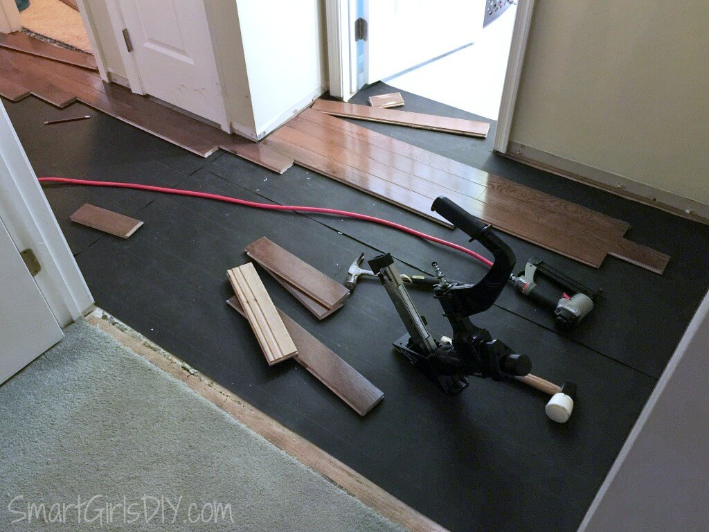Working backwards to install hardwood from behind