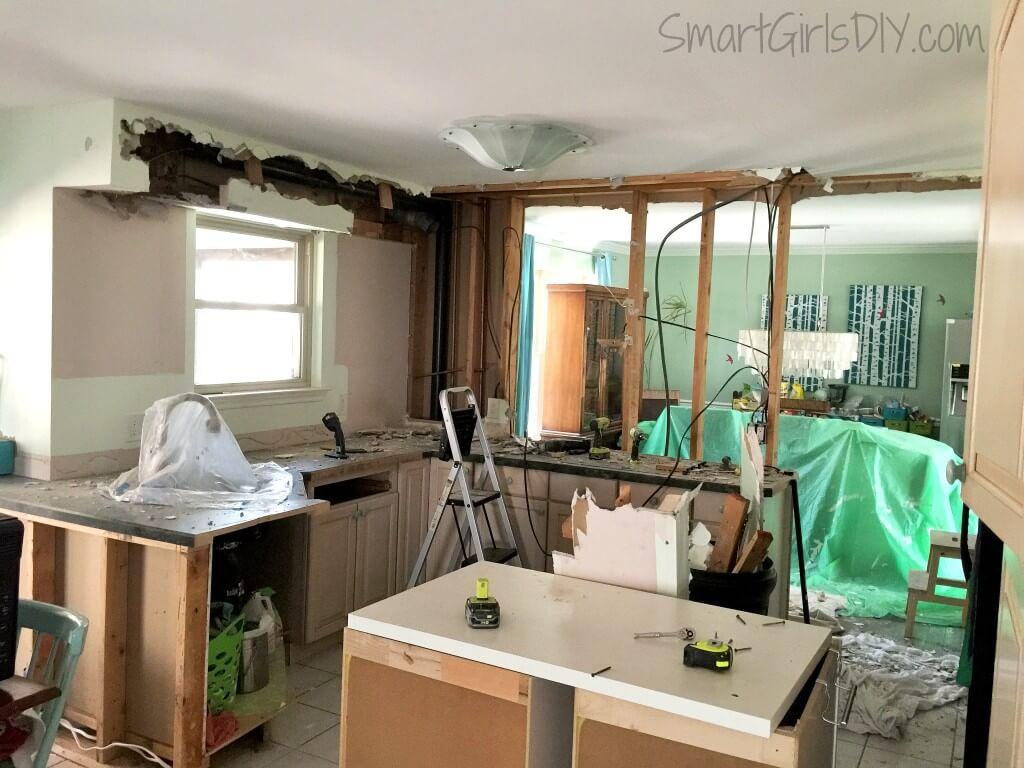 Kitchen demo - removing soffits and taking down a wall