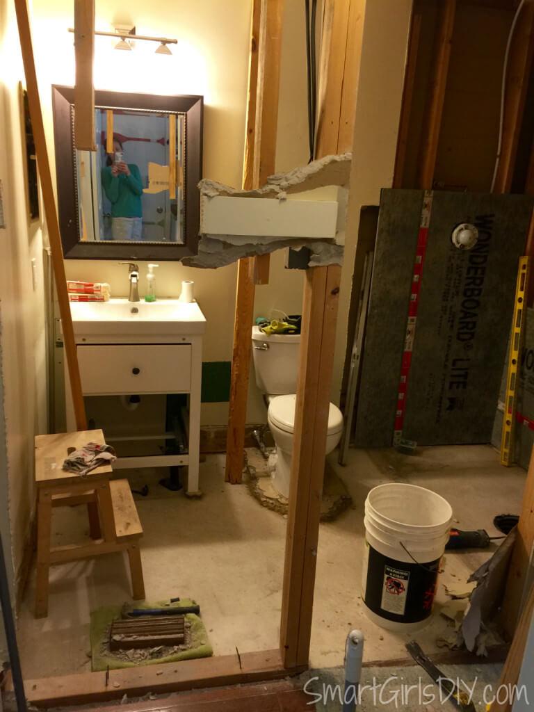 Guest bathroom demolition continues