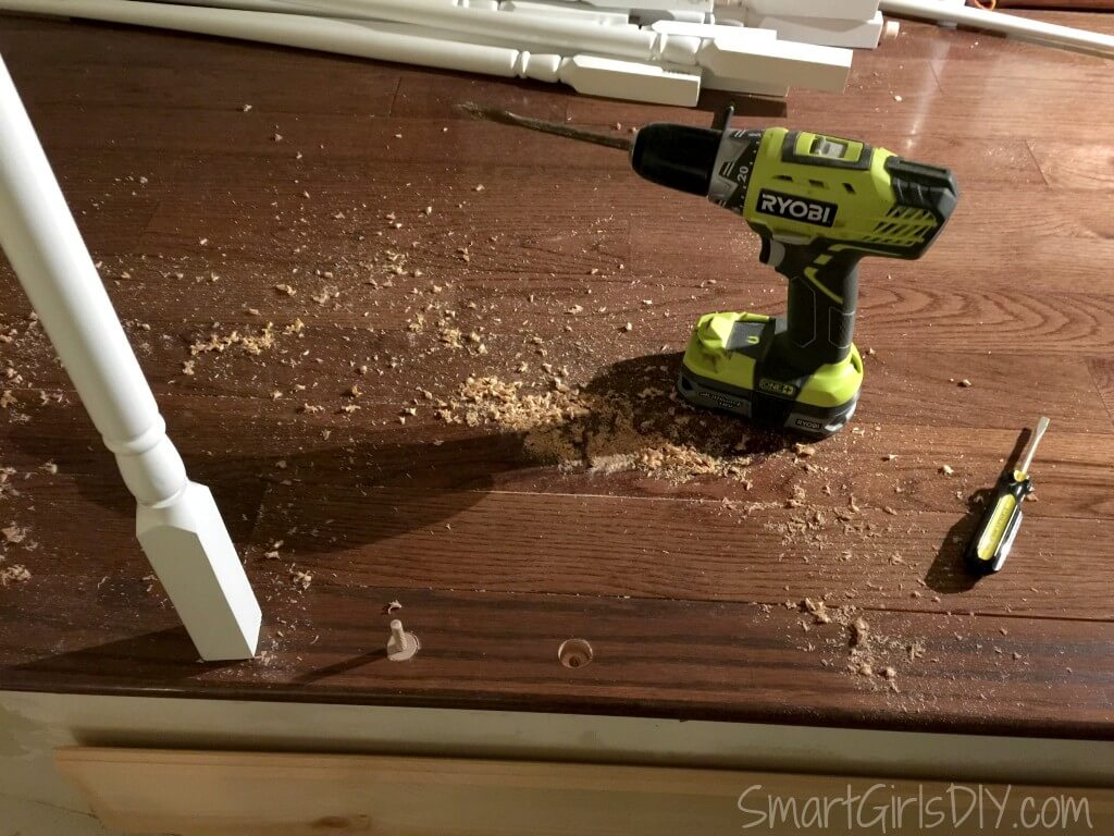 Making a mess drilling holes for spindle dowels