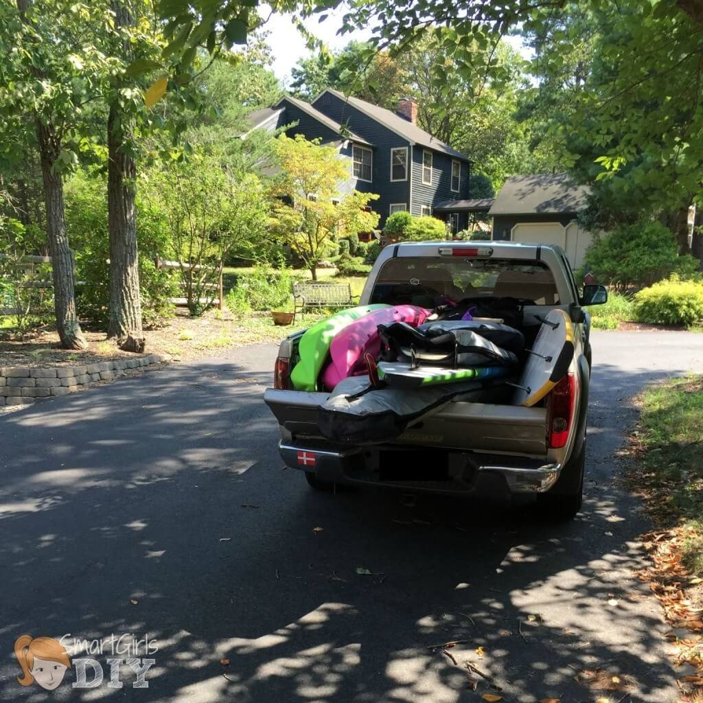 Both cars were loaded up with all our summer stuff