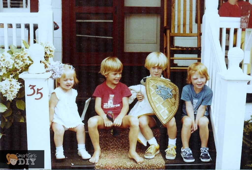 Cousins on the porch - that's me with the black eye