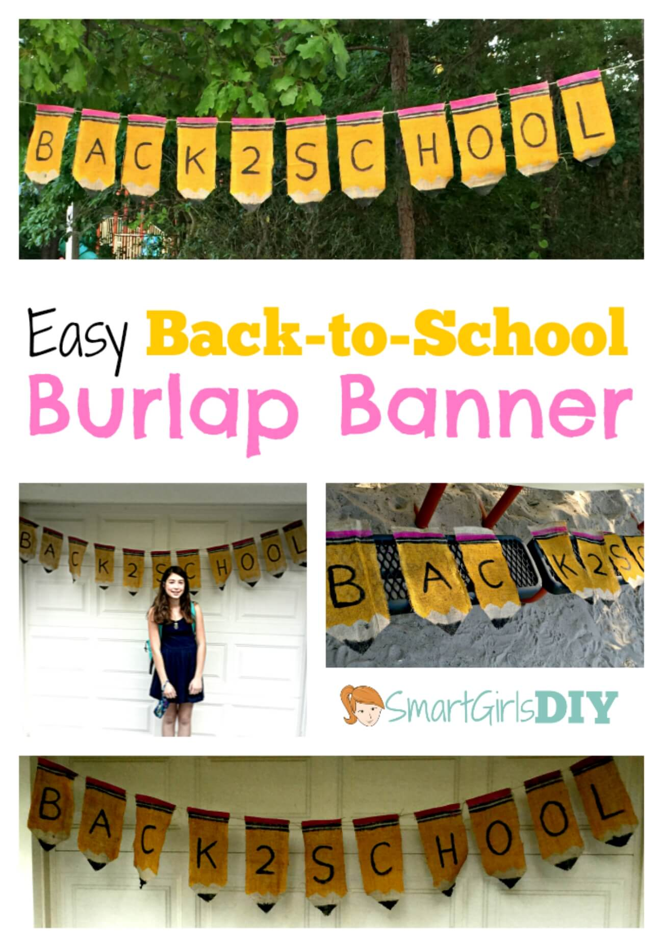 Back to School Burlap Banner