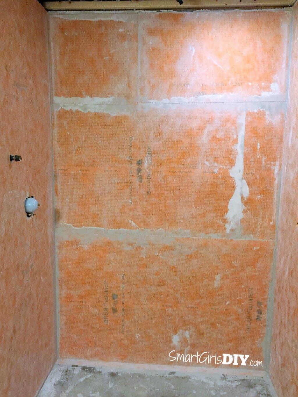 Schluter Kerdi installed on shower walls - shower floor is next