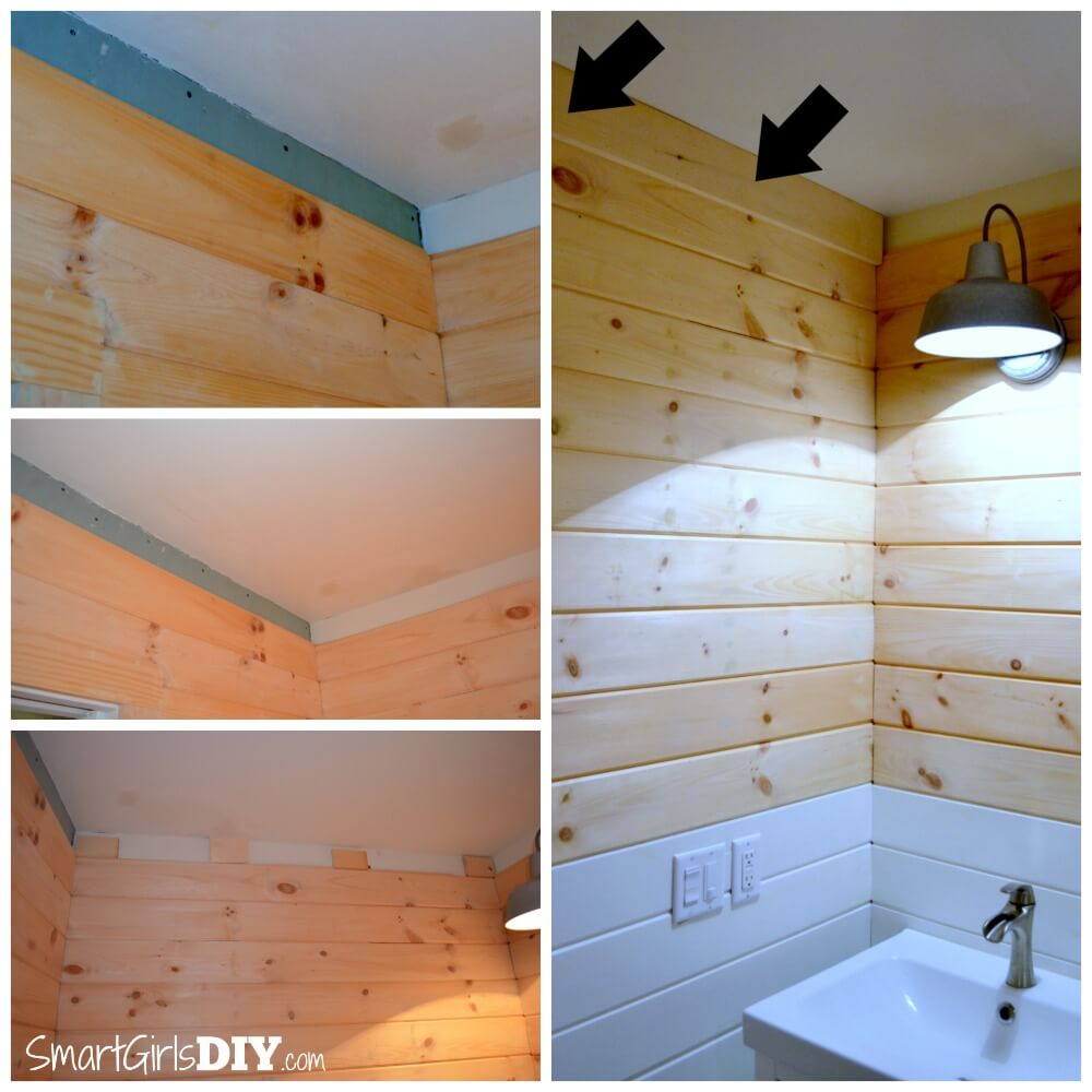 Adding crown molding to the top of planked walls