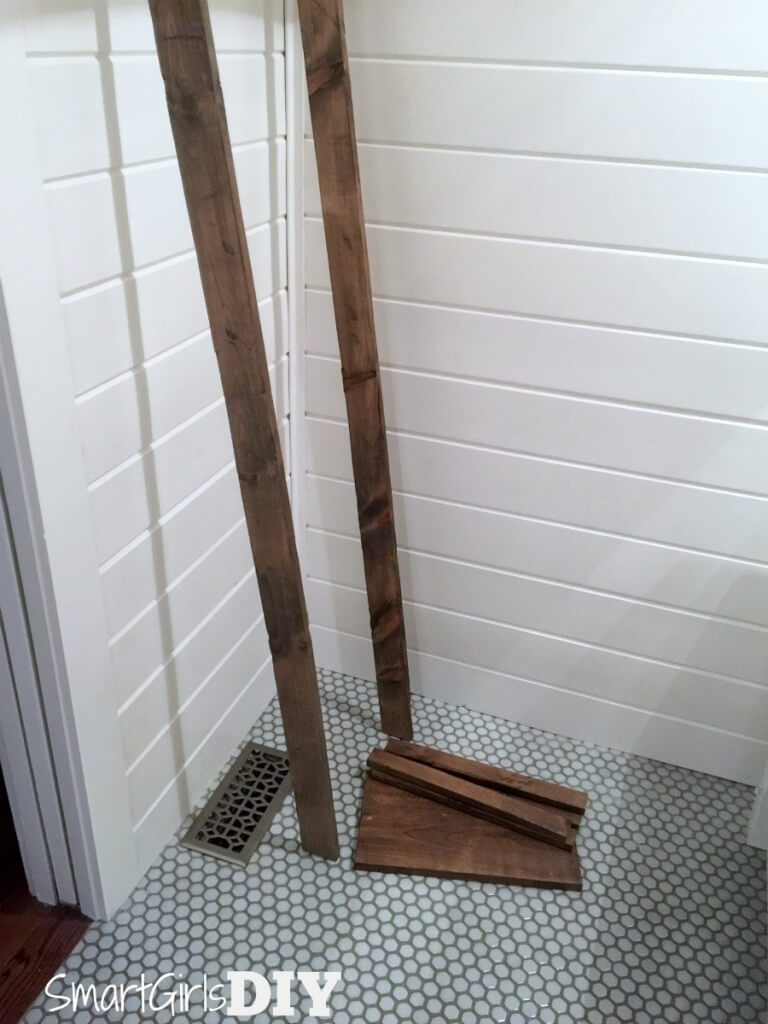 Assembling bathroom storage ladder