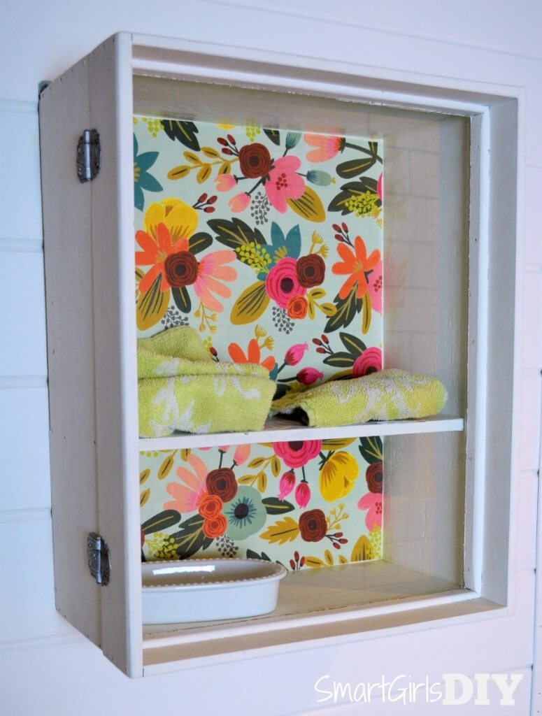 Cabinet with decoupage accent