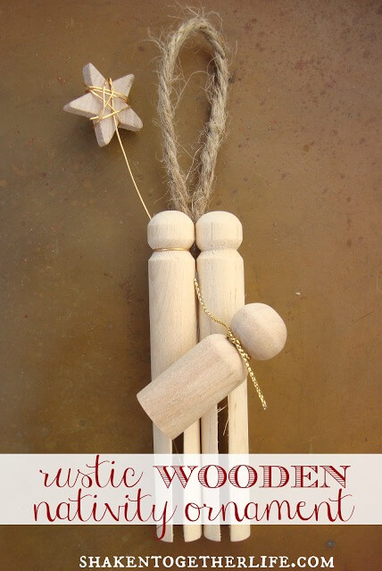 rustic wooden nativity ornament