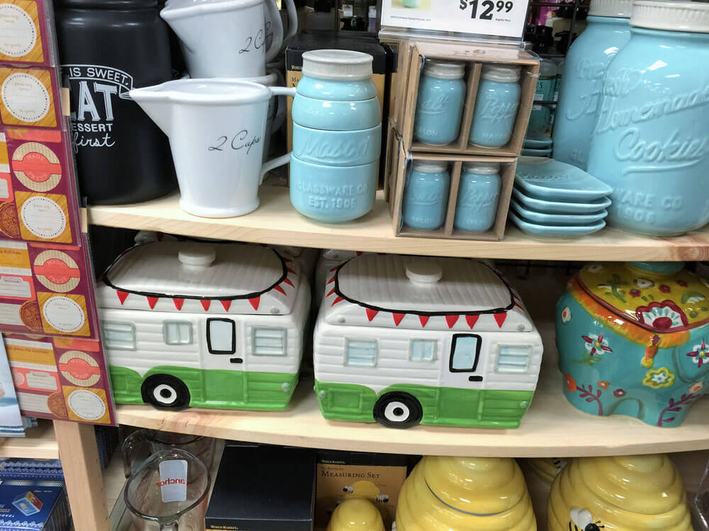 I love the travel trailer cookie jar from Cost Plus World Martket Shrewsbury