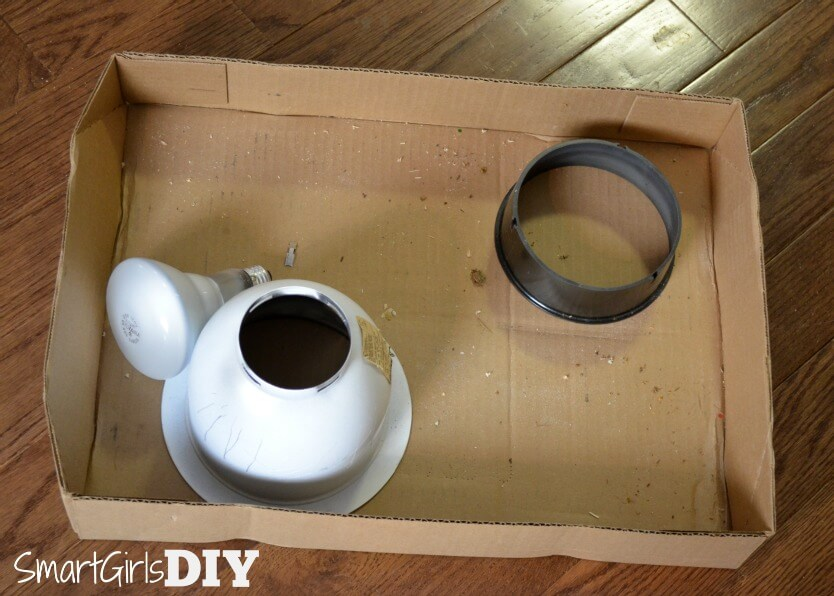 Hold something under the old light fixture when you remove it -- it will be dirty!