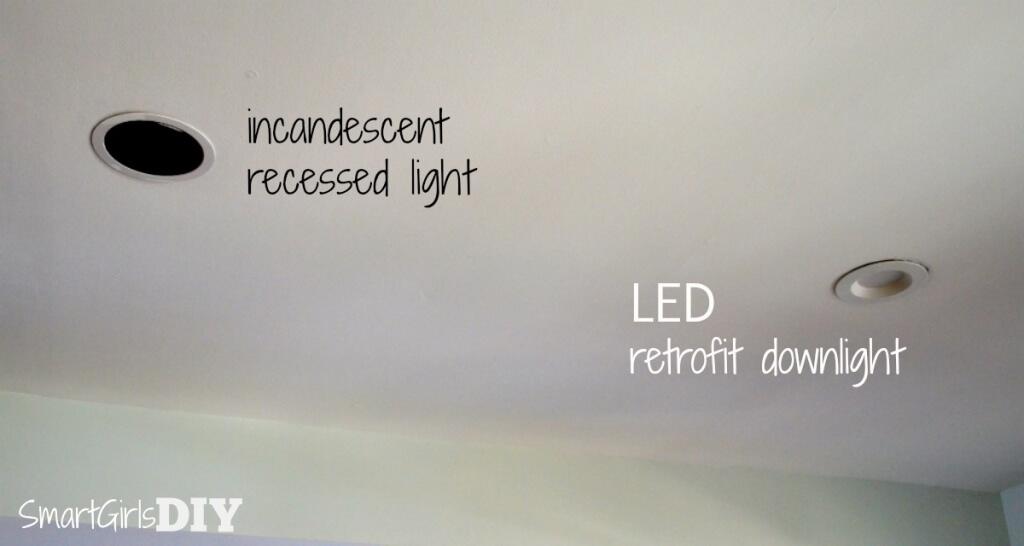 Incandescent versus LED recessed lighting