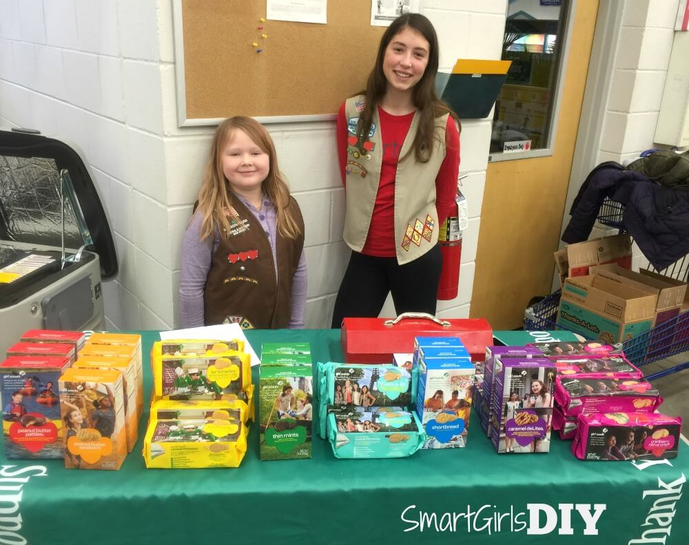 Selling Girl Scout cookies at Lowe's