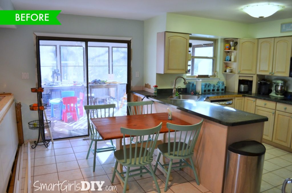 A look back at the kitchen BEFORE - I always hated those sliding doors