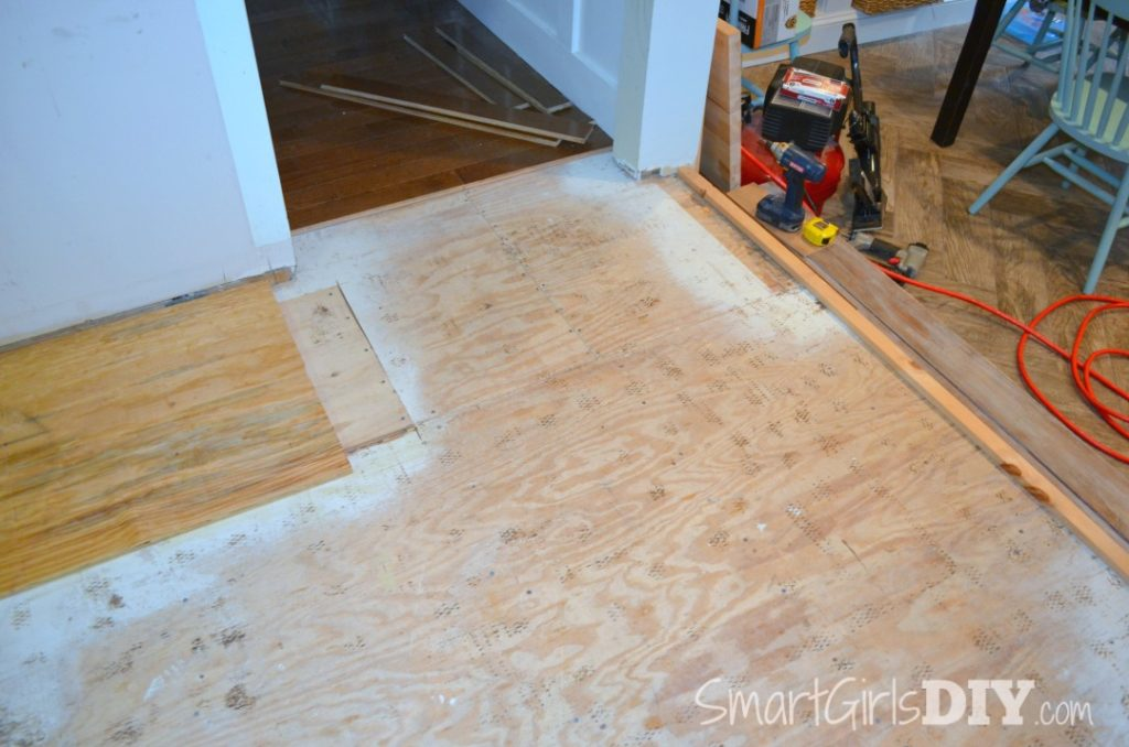 Adding a temporary guide before installing hardwood flooring