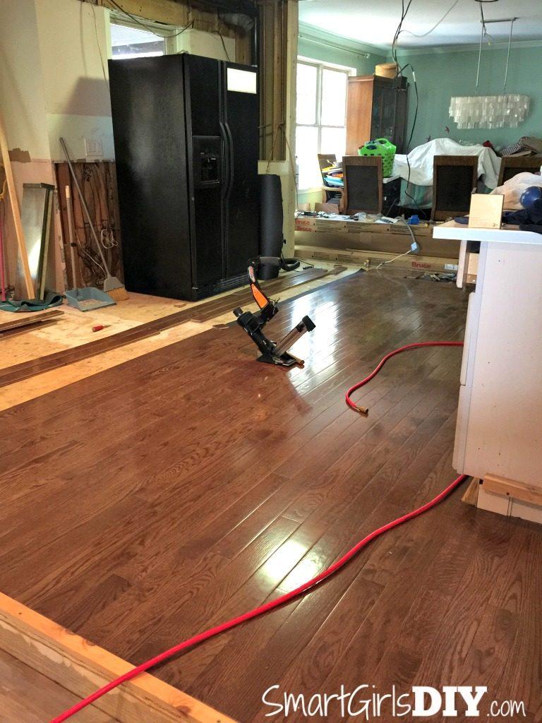 DIY Kitchen hardwood flooring