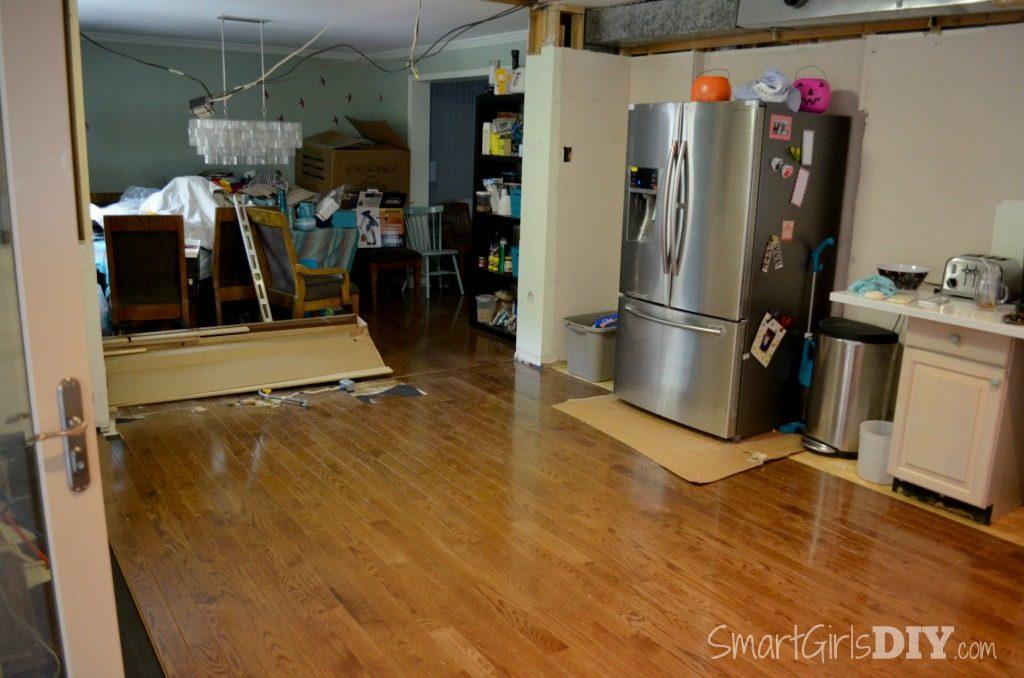 DIY Kitchen renovation -- installing hardwood floors