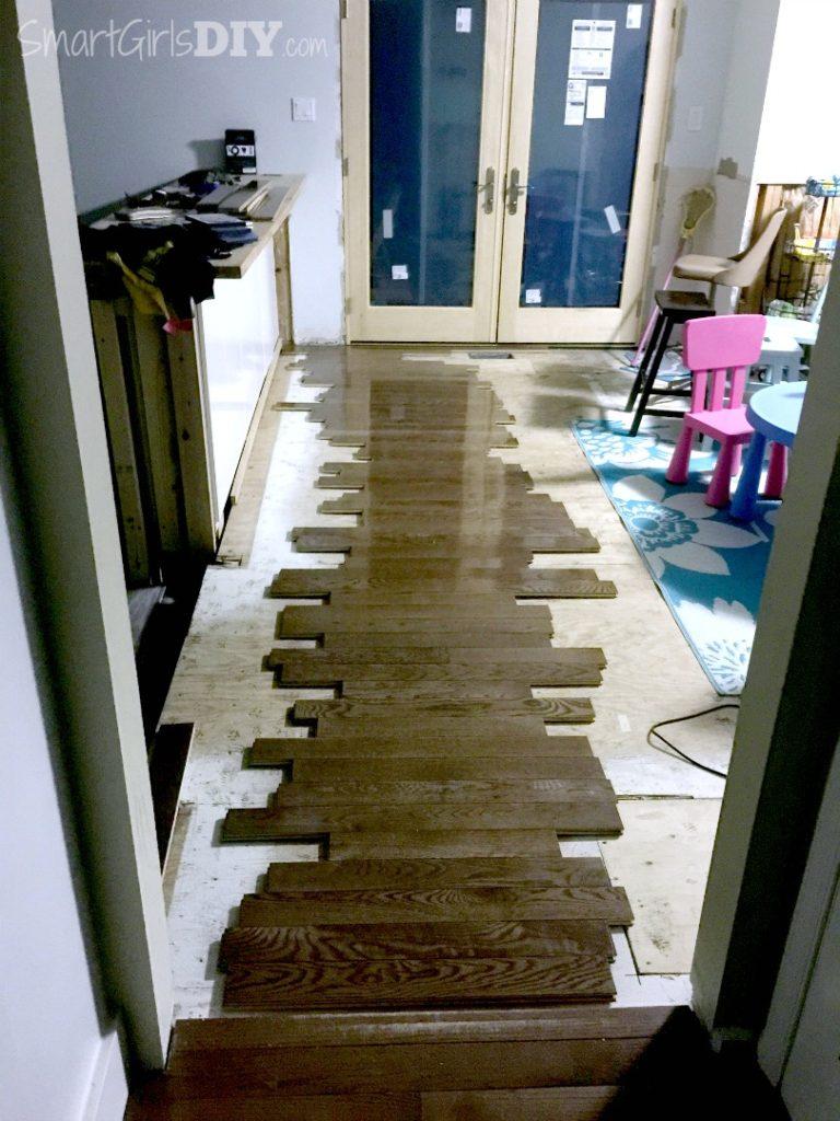 Dry run of hardwood flooring layout
