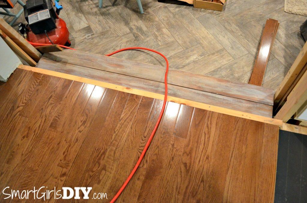 Hardwood floor install waiting for bullnose