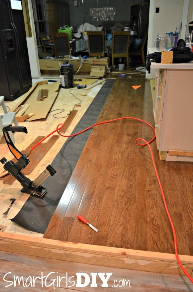 Hardwood floor transition to step