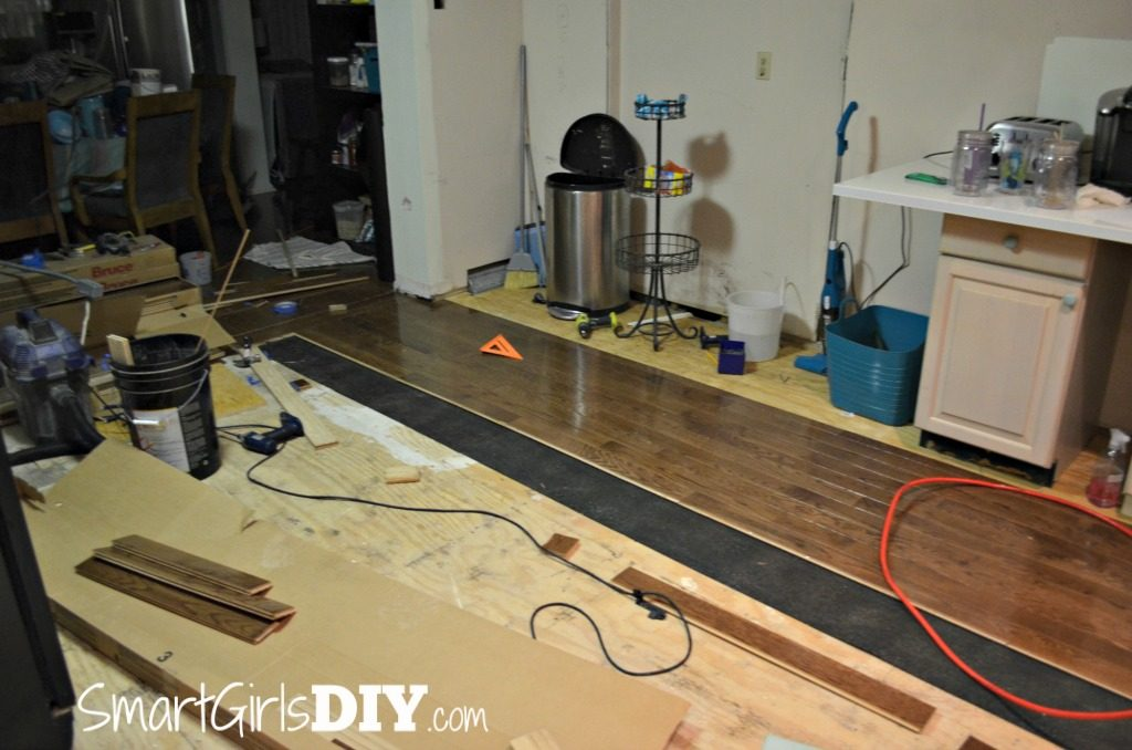 Installing hardwood floors in kitchen wood floors for Kitchen flooring installation