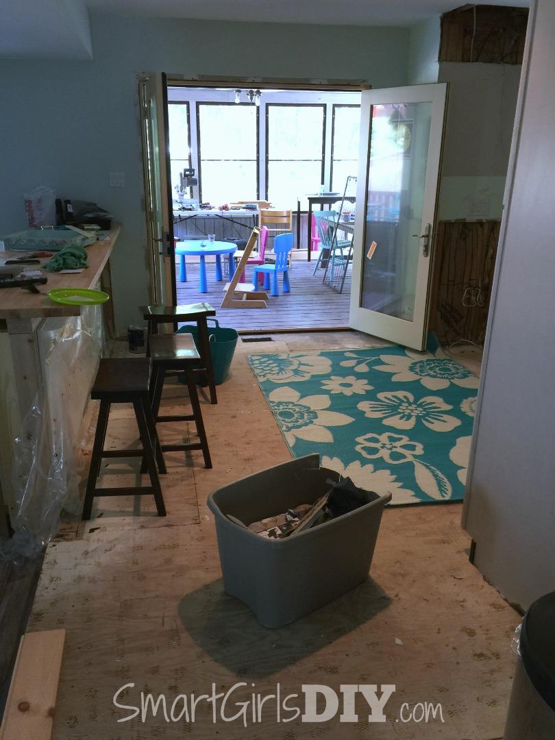 New patio doors, but no kitchen floor