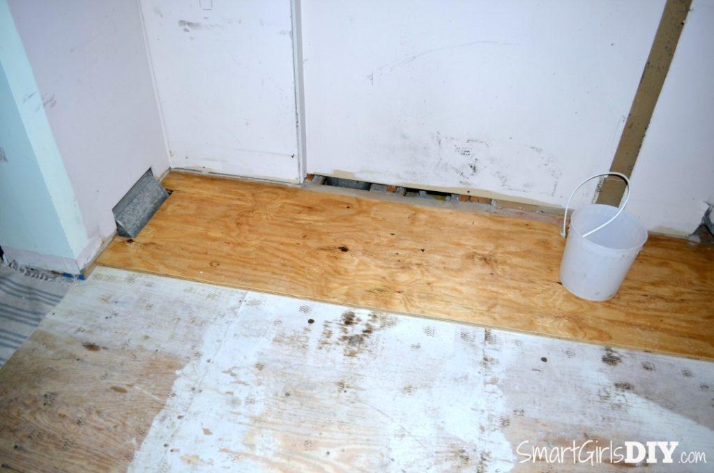 Plywood is same height as hardwood floor