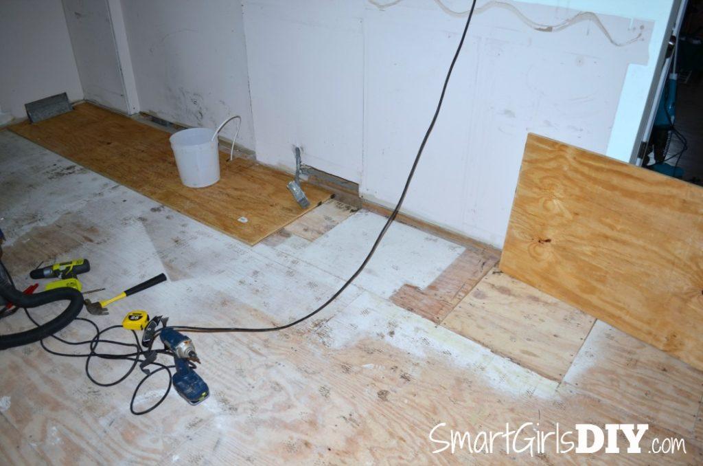 Preparing to lay hardwood flooring