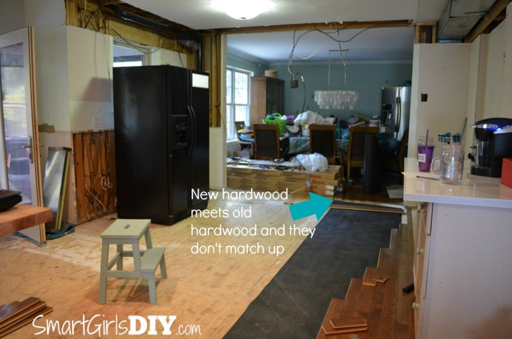 Problems installing hardwood flooring -- it doesn't meet up with existing floor
