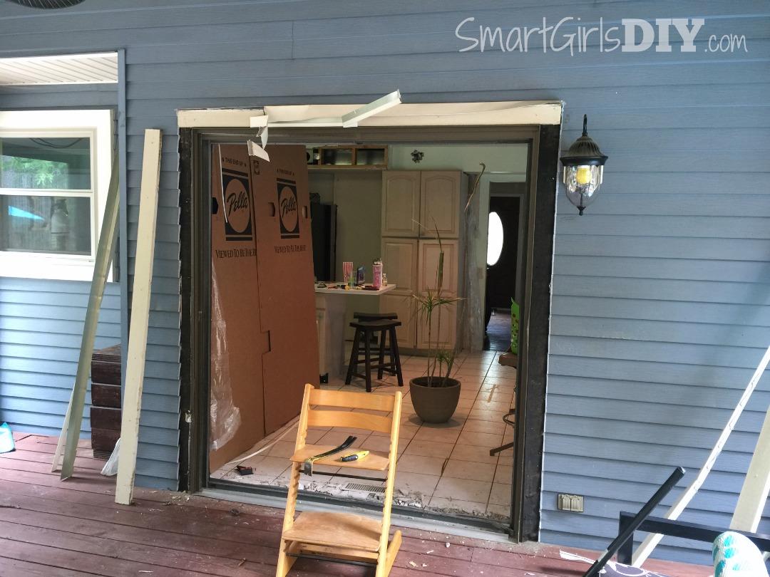 Removing old patio door frame before installing new Pella doors