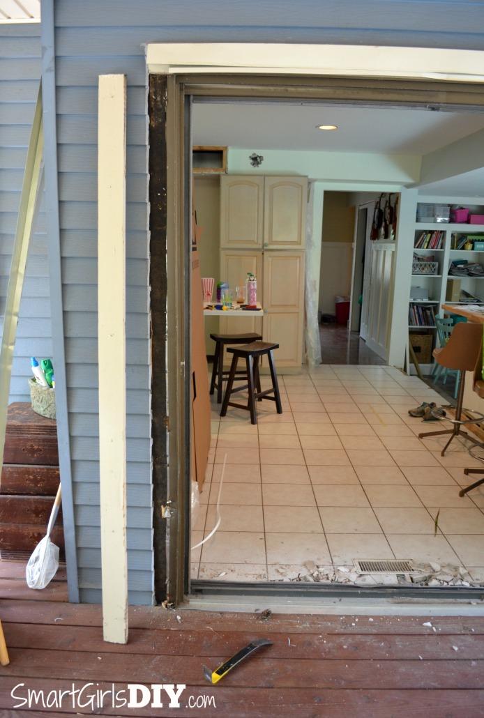 Removing trim from patio door