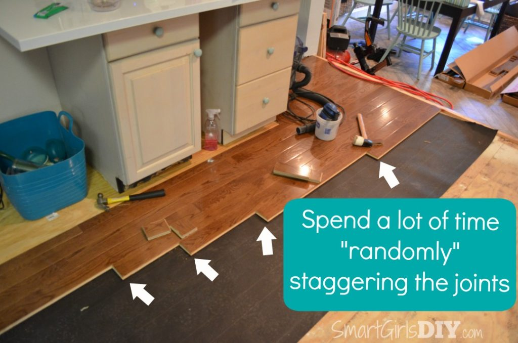 Spend a lot of time randomly staggering hardwood floor joints